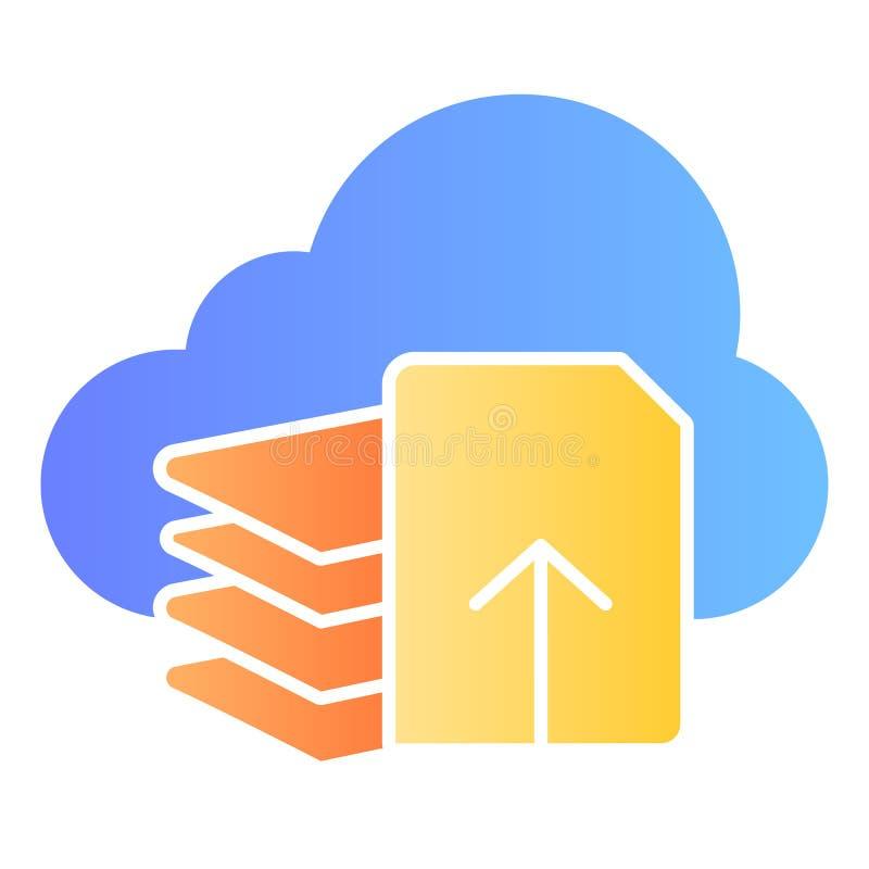 De download dient vlak pictogram in De kleurenpictogrammen van de documentdownload in in vlakke stijl Lijst en wolken het ontwerp royalty-vrije illustratie