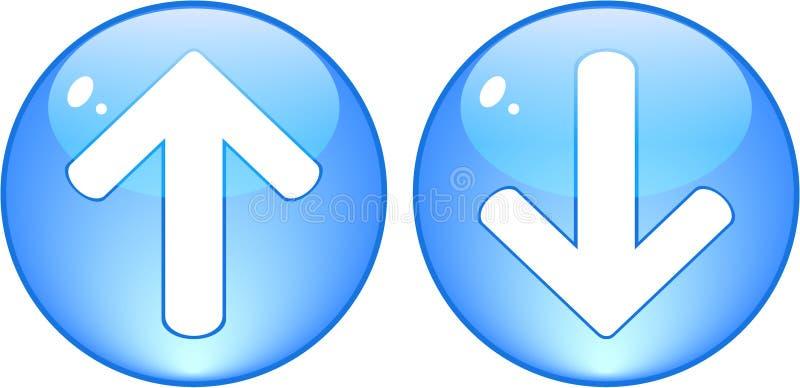 De download en uploadt blauwe knopen vector illustratie
