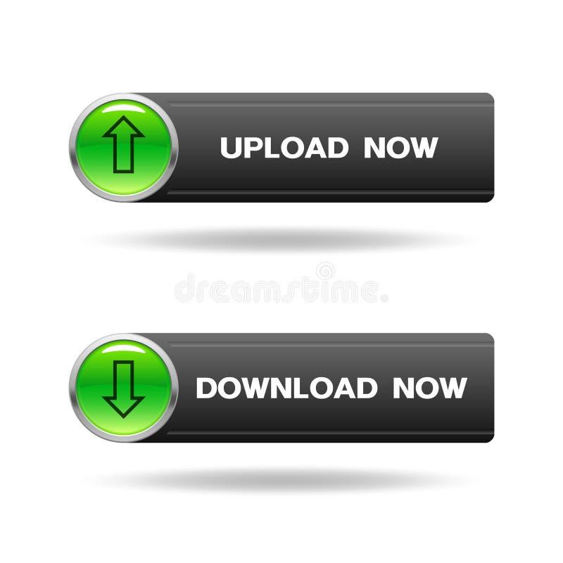 De download en uploadt glanzende knopen met pijlteken vector illustratie