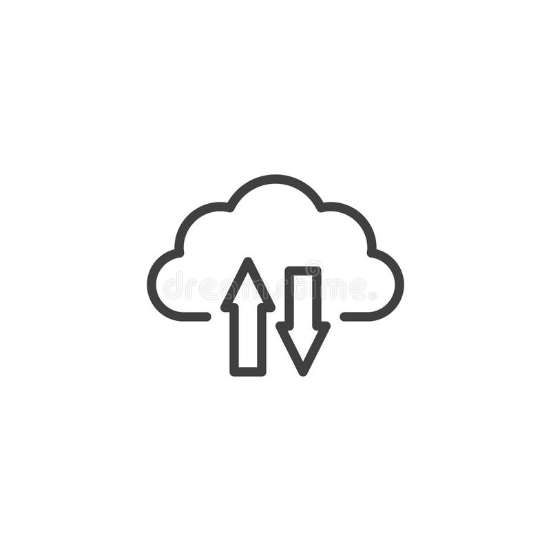 De download en uploadt het pictogram van de wolkenlijn stock illustratie