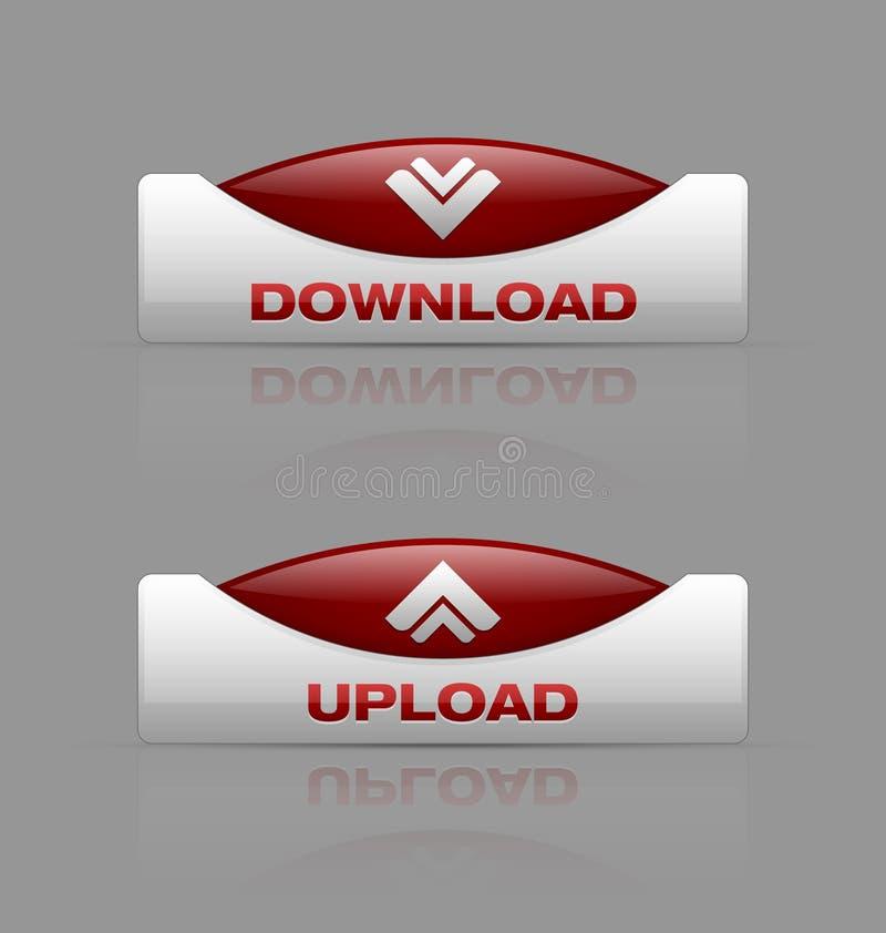 De download en uploadt knopen royalty-vrije illustratie