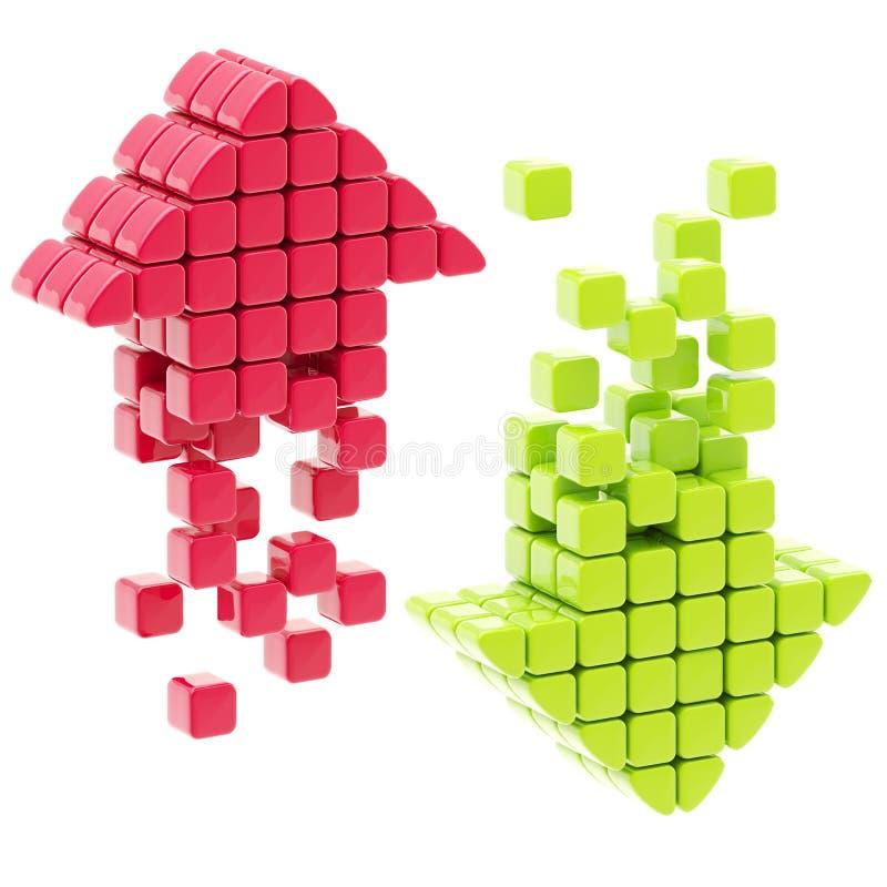 De download en uploadt pijlpictogrammen vector illustratie