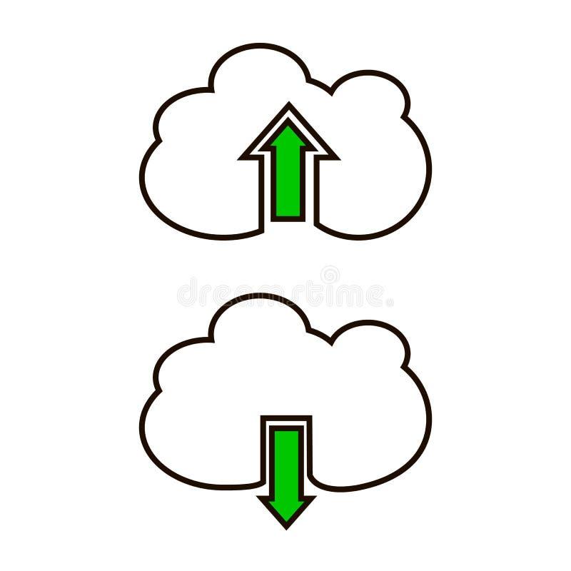 De download en uploadt vectorpictogrammen stock illustratie