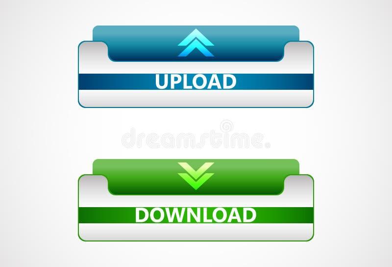 De download en uploadt Webpictogrammen, knopen royalty-vrije illustratie