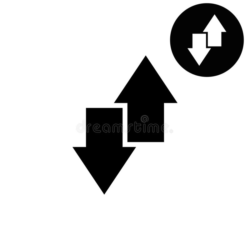 De download en uploadt - wit vectorpictogram royalty-vrije illustratie