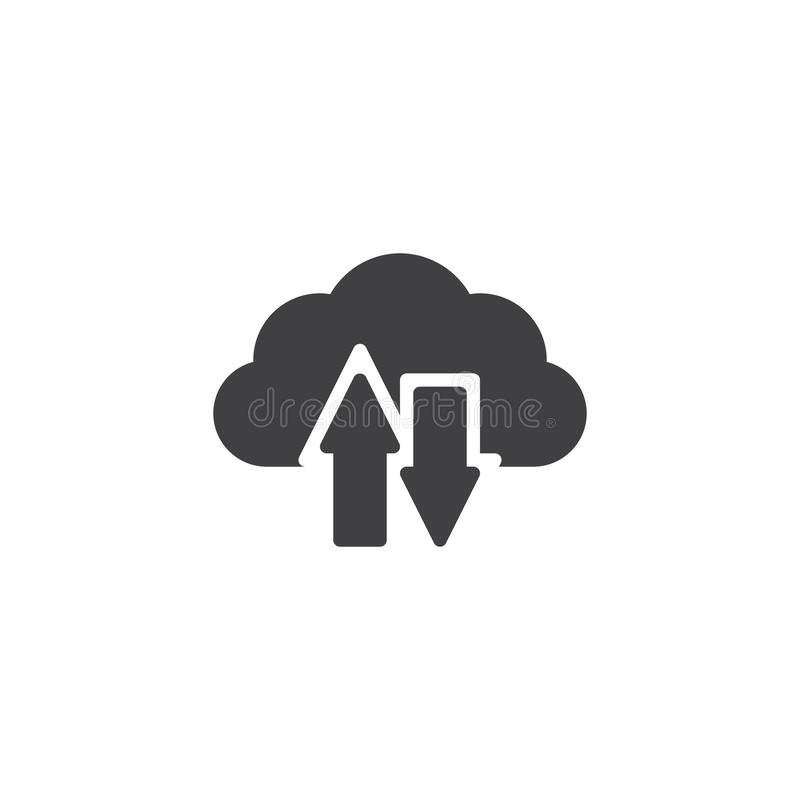 De download en uploadt wolken vectorpictogram stock illustratie