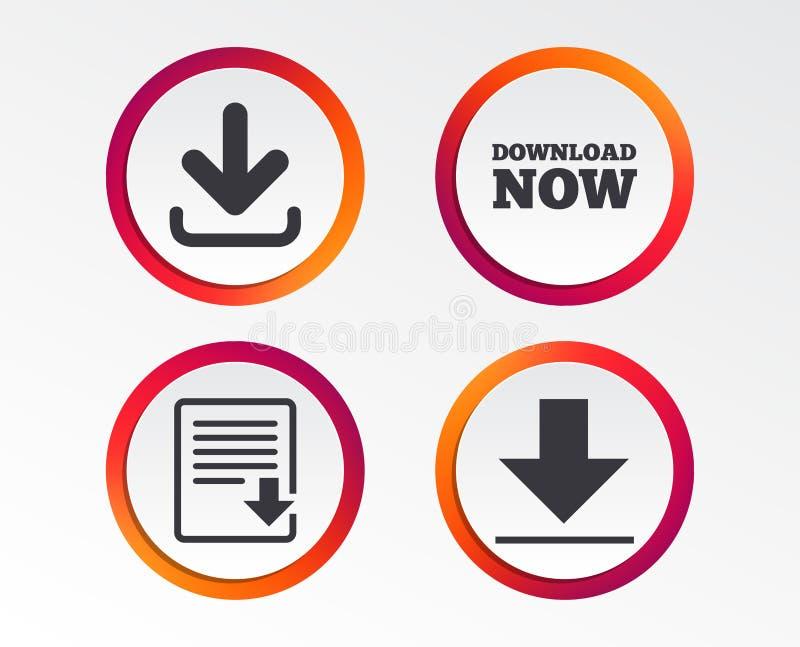 De download ondertekent nu Upload het pictogram van het dossierdocument stock illustratie