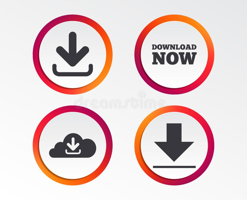 De download ondertekent nu Upload van wolkenpictogram vector illustratie