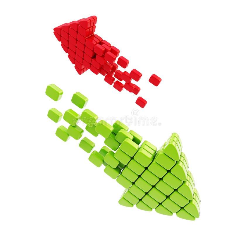 De download uploadt pijlpictogram dat van kubussen wordt gemaakt royalty-vrije illustratie