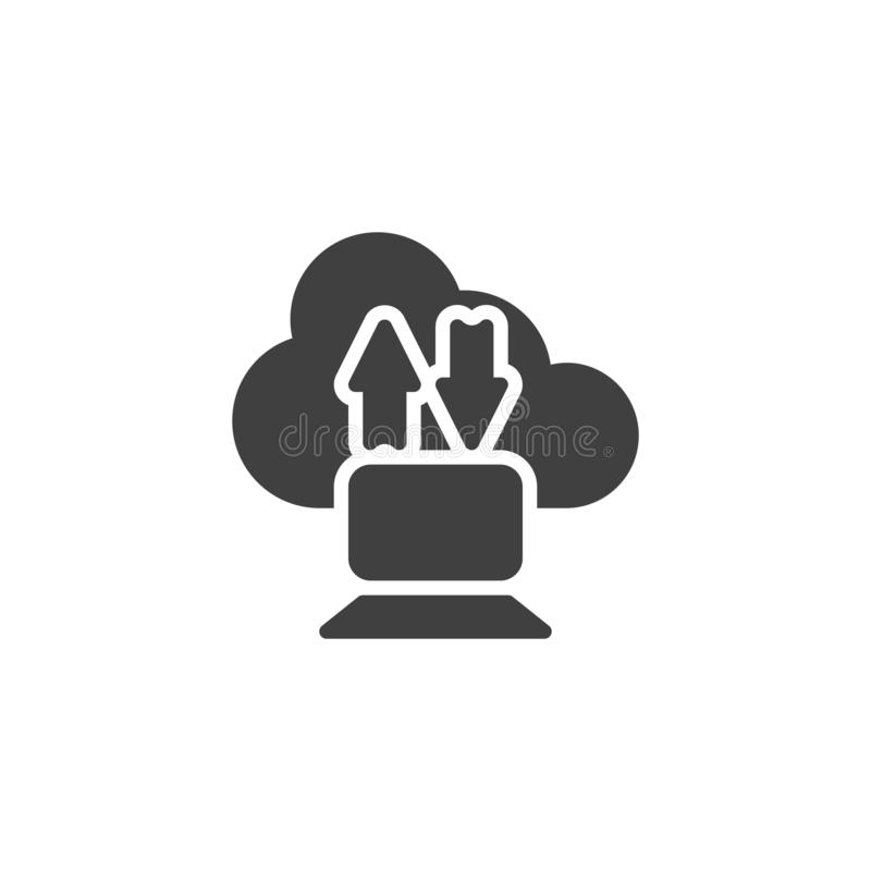 De download uploadt wolk en computer vectorpictogram royalty-vrije illustratie