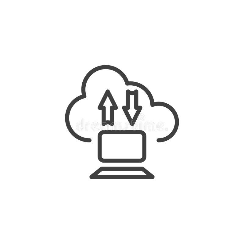 De download uploadt wolk en computerlijnpictogram vector illustratie