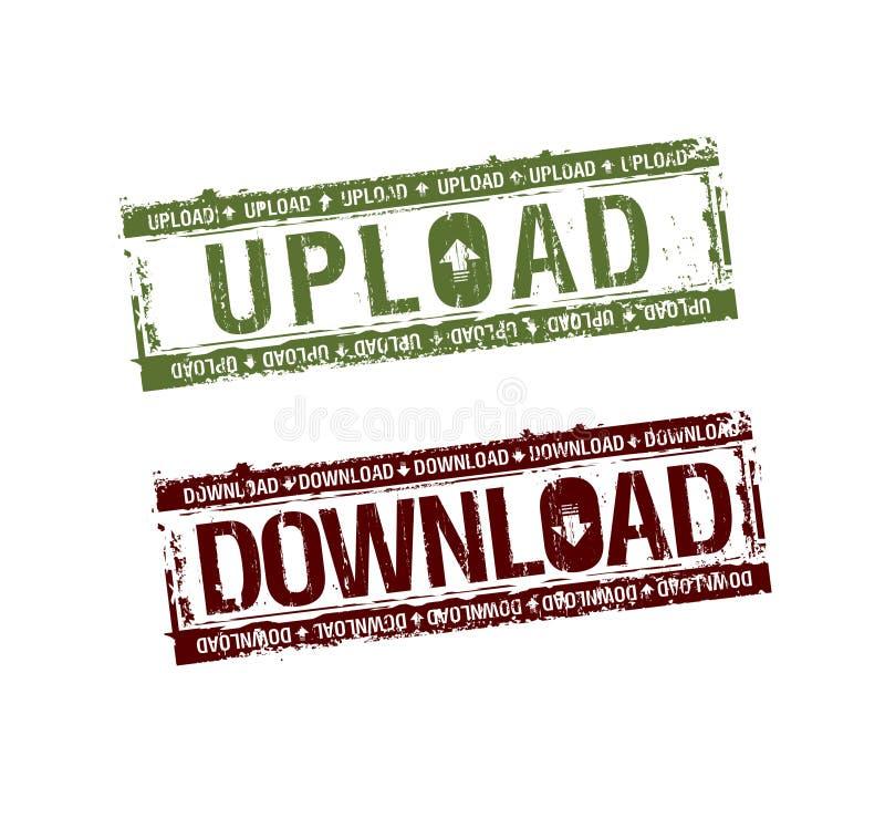 De download uploadt zegels stock illustratie