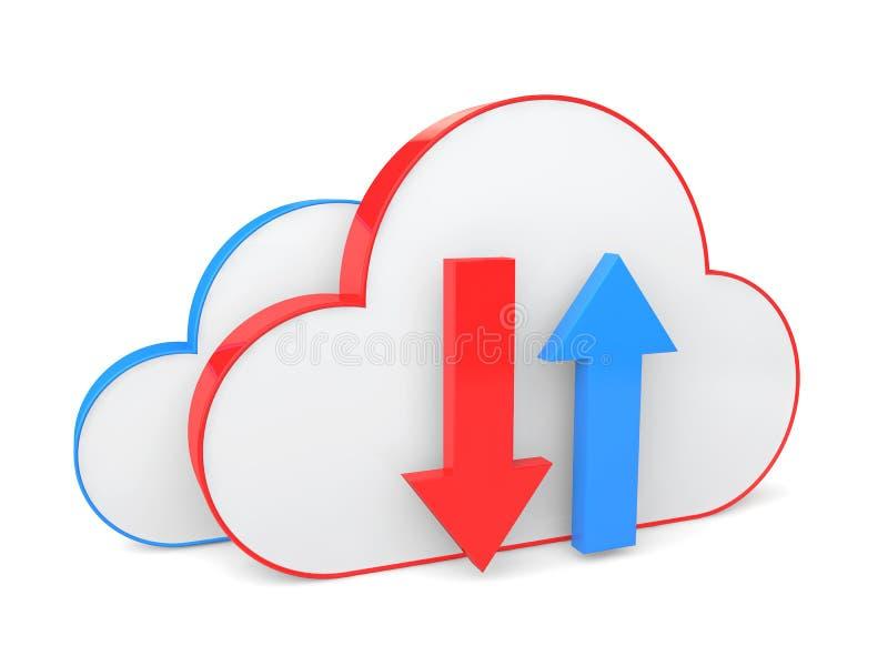 De download van de wolkenopslag en uploadt concept vector illustratie