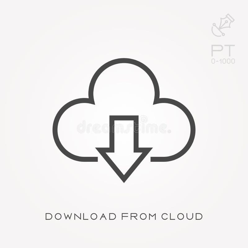 De download van het lijnpictogram van wolk stock illustratie