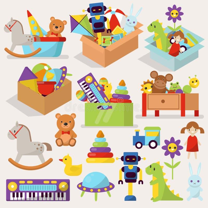 De dozen de vectorillustratie van het jong geitjespeelgoed vulden van het spelkinderjaren van het blokkenbeeldverhaal leuke grafi vector illustratie
