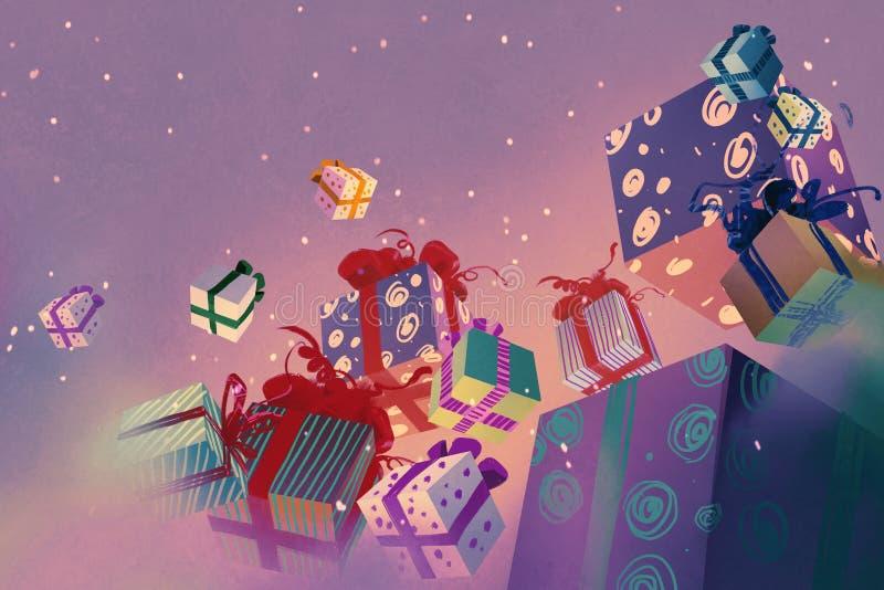 De dozen die van de Kerstmisgift op purpere achtergrond drijven vector illustratie