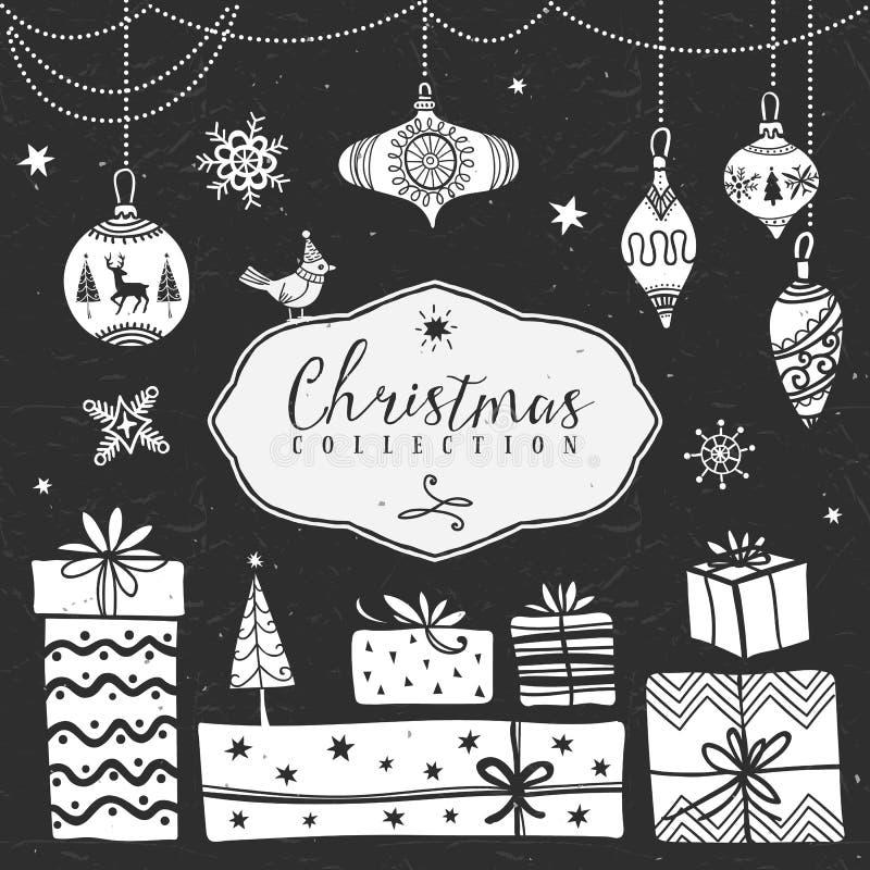 De dozen van de krijtgift en boomballen De inzameling van Kerstmis stock illustratie