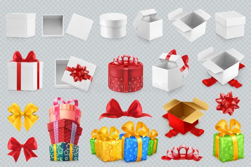 De dozen van de gift met bogen Reeks vectorpictogrammen royalty-vrije illustratie