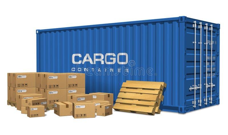 De dozen van het karton en ladingscontainer stock illustratie