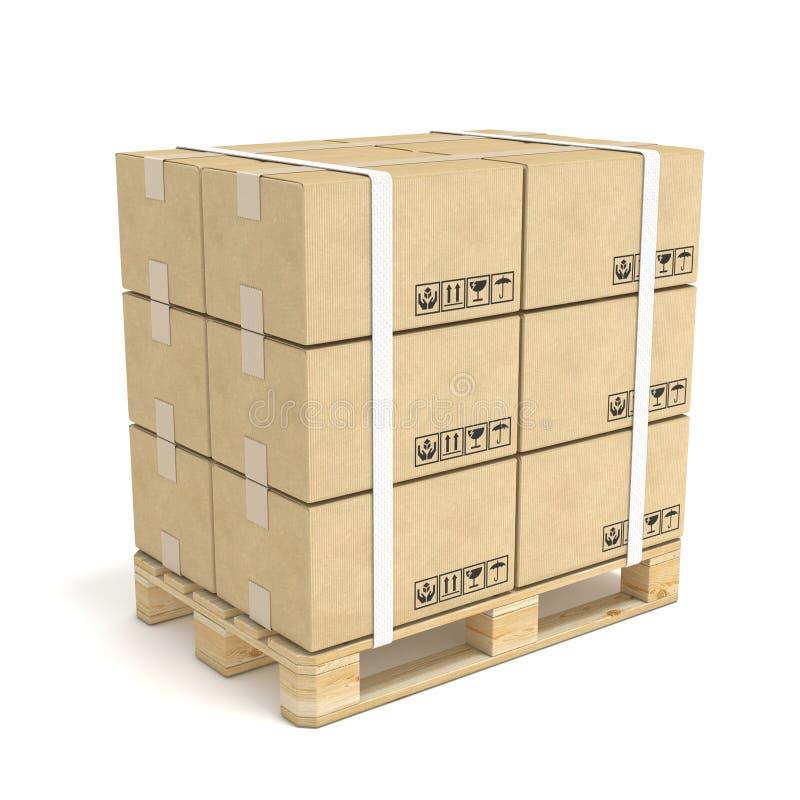 De dozen van het karton op houten pallet 3D Pictogram op wit wordt geïsoleerd dat 3d vector illustratie
