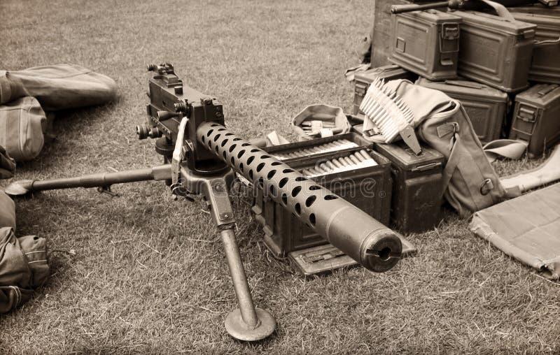 De dozen van het machinegeweer en van munitie stock afbeelding