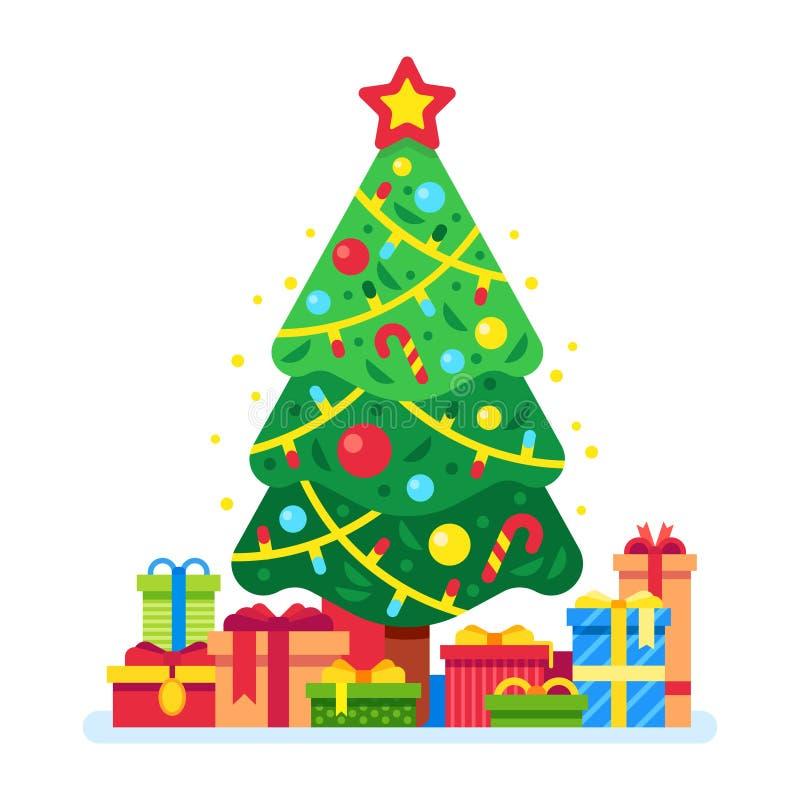 De dozen van de kerstboom en van de gift Kerstmis huidig onder groene sparren, giftendoos met lint De vakantie stelt vectorvlakte vector illustratie