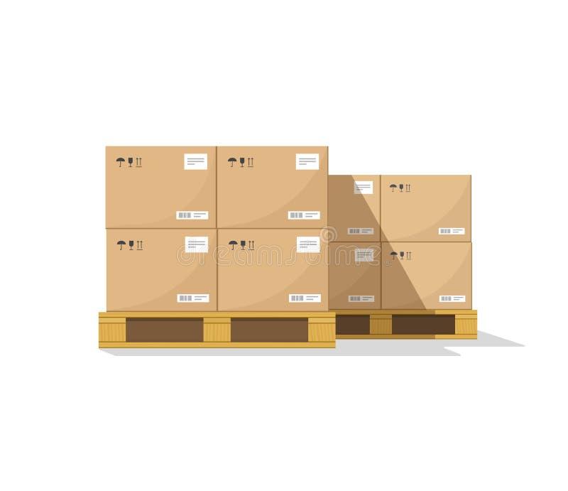 De dozen van pakhuisdelen op houten pallet vectorillustratie met schaduw royalty-vrije illustratie