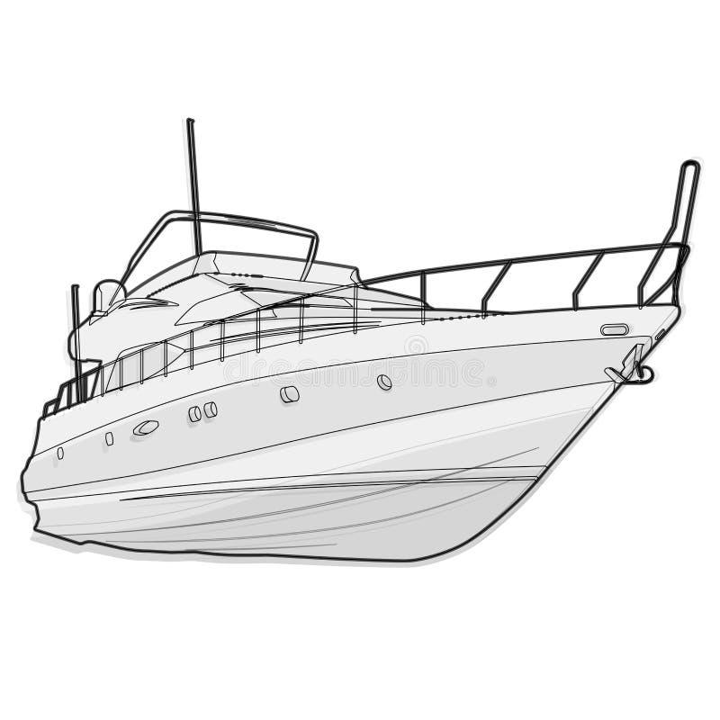 De draad zwart-witte boot van Nice op wit, die op een schip vissen met stock illustratie
