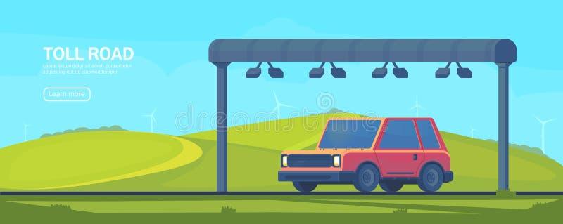 De draadloze geautomatiseerde poort van de tolinzameling op weg Controlepost op de tolweg De banner van het Web Vector vlakke ill vector illustratie