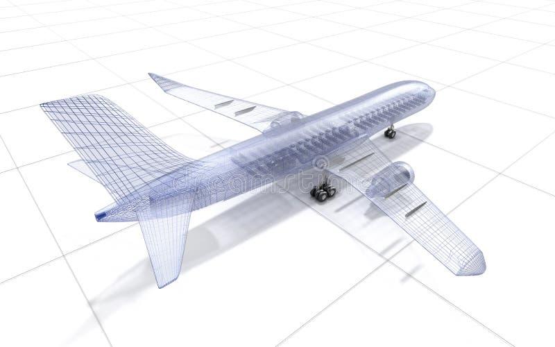 De draadmodel van het vliegtuig, op wit vector illustratie
