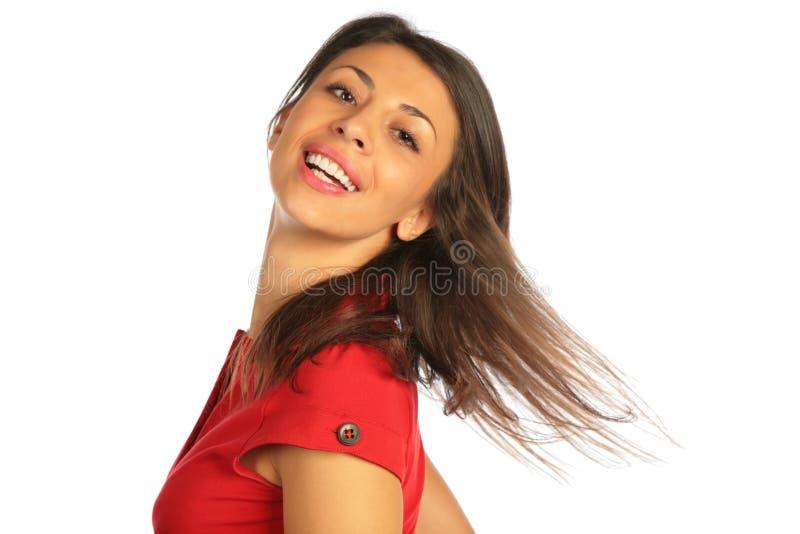 De draai hoofd, vliegend haar van de vrouw stock afbeeldingen