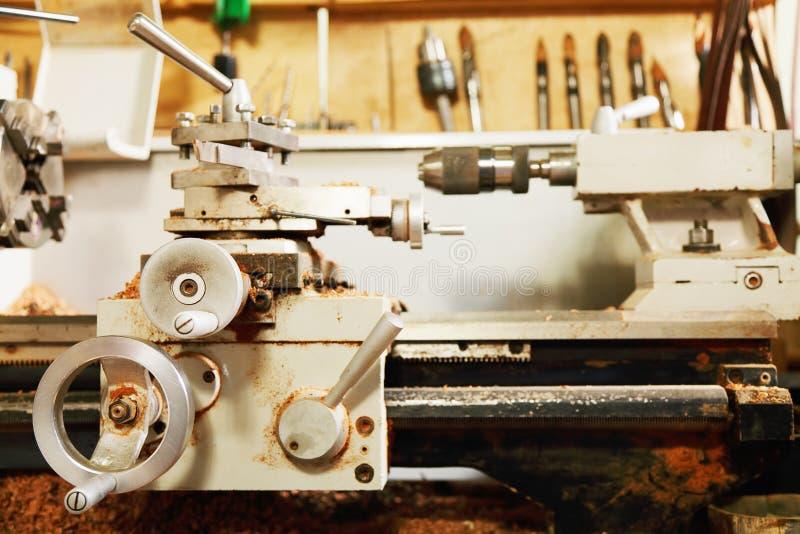 De draaibank van de houtbewerking stock foto