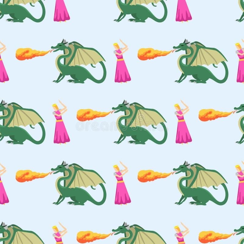 De draak die van de fantasieridder naadloze het monster van de patroonmythologie vectorillustratie vliegen als achtergrond vector illustratie