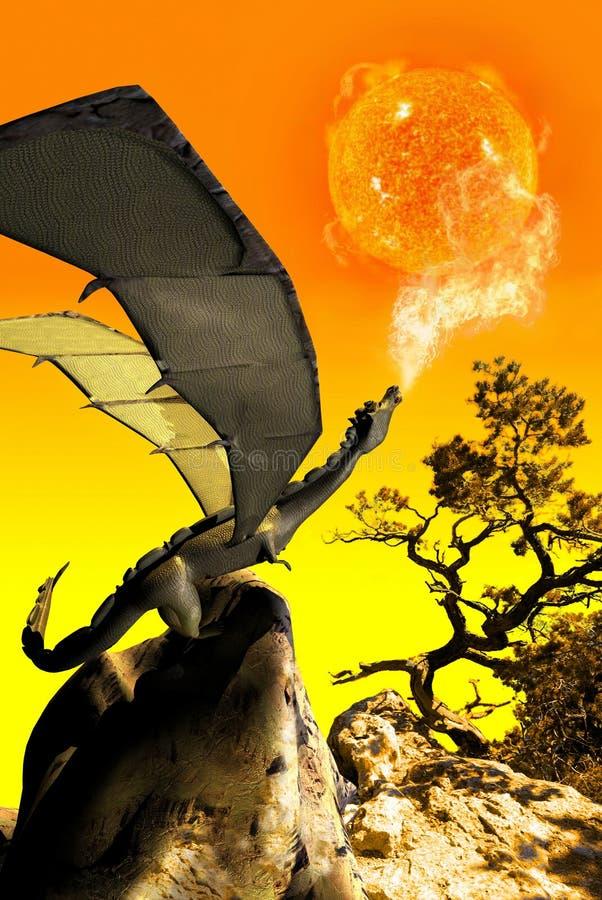 De draak en de zon royalty-vrije illustratie