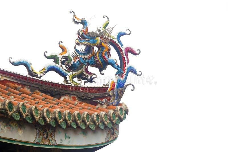 De draak op het tempeldak stock foto