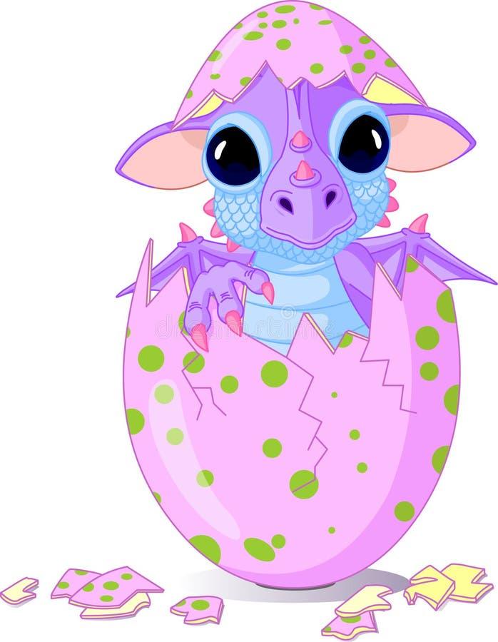 De draak van de baby die van één ei wordt uitgebroed royalty-vrije illustratie