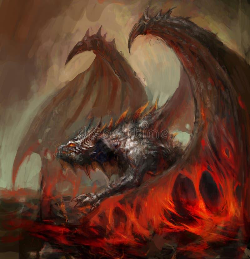 De draak van de lava royalty-vrije illustratie