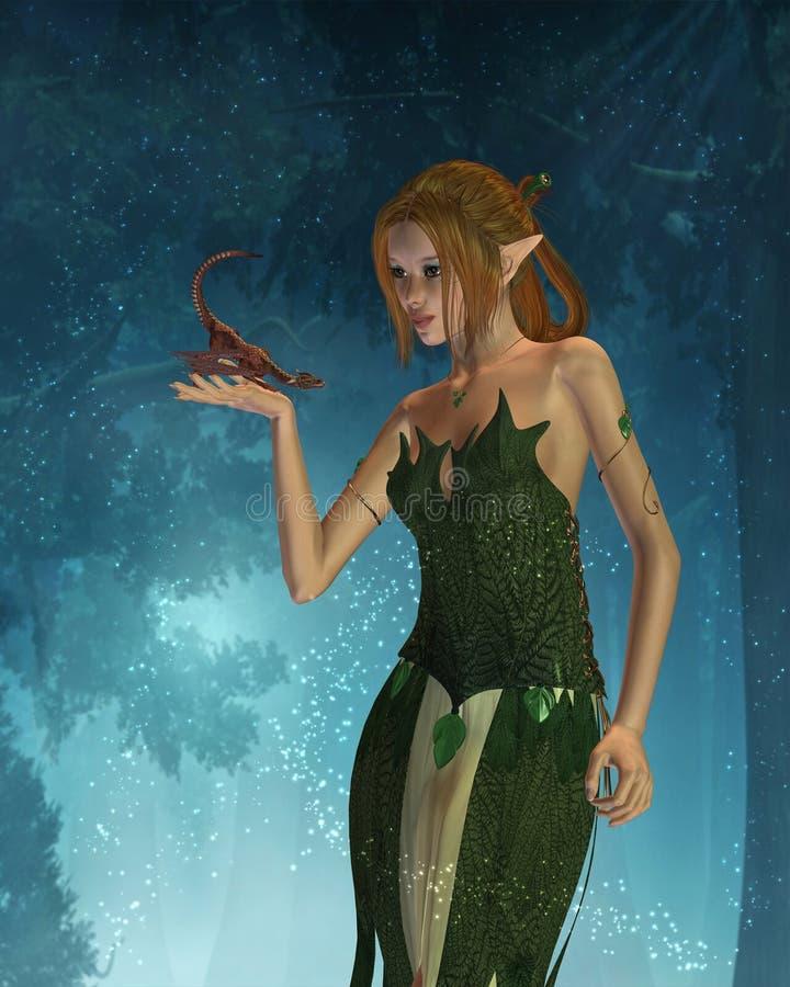 De Draak van de Vrouw en van het Huisdier van het elf met BosAchtergrond stock illustratie
