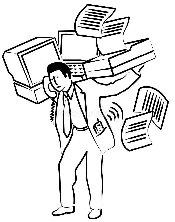 De dragende kantoorbenodigdheden van de mens royalty-vrije illustratie