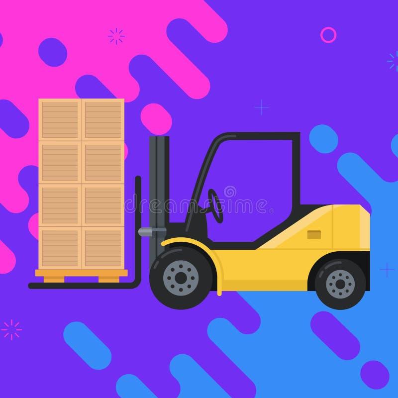 De dragende lading van de vorkheftruck dozen met pallet vector illustratie