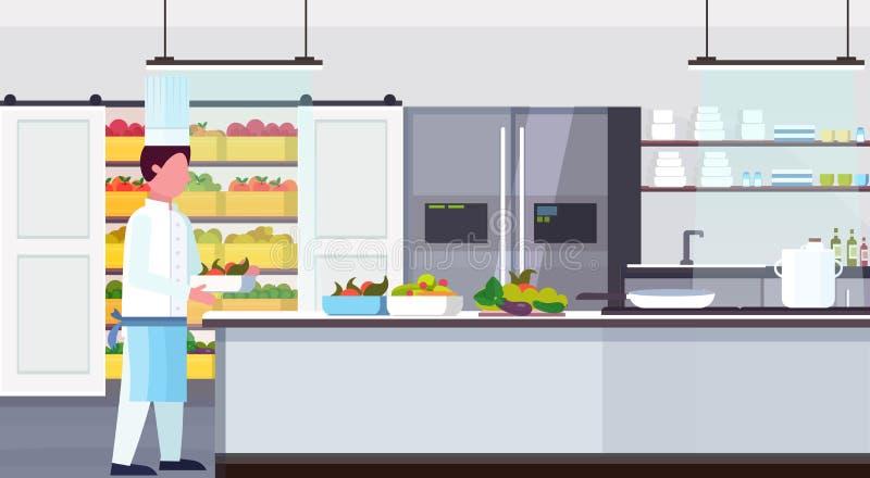 De dragende plaat van de chef-kokkok met verse vruchten de uitrustingsvoedsel van vegetarische maaltijdingrediënten moderne koken vector illustratie