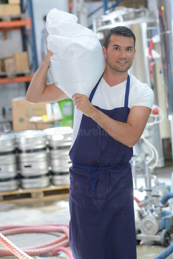 De dragende zak van de fabrieksarbeider stock foto's