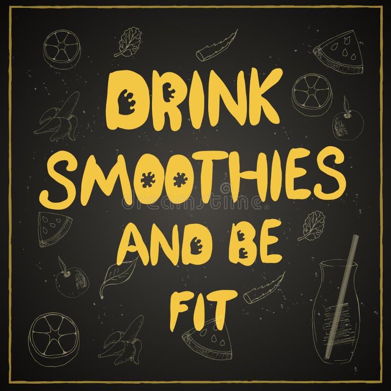 De drank smoothies en gezond is stock illustratie