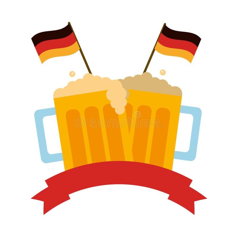 De drank van bierkruiken met lint en vlaggen van Duitsland vector illustratie