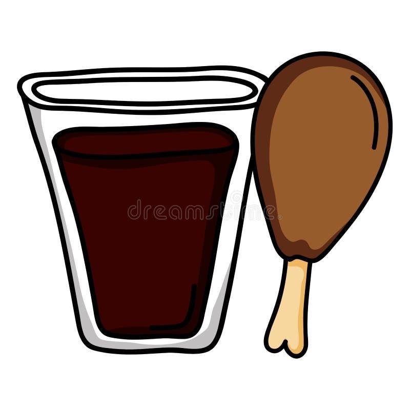 De drank van het sodaglas sprankelend met kippendij vector illustratie