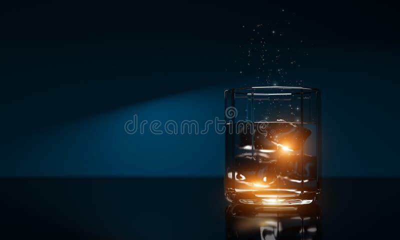 De drank van de vakantievakantie - koude duidelijke whisky Schotse drank Realistische 3d geeft terug 3D Illustratie stock illustratie