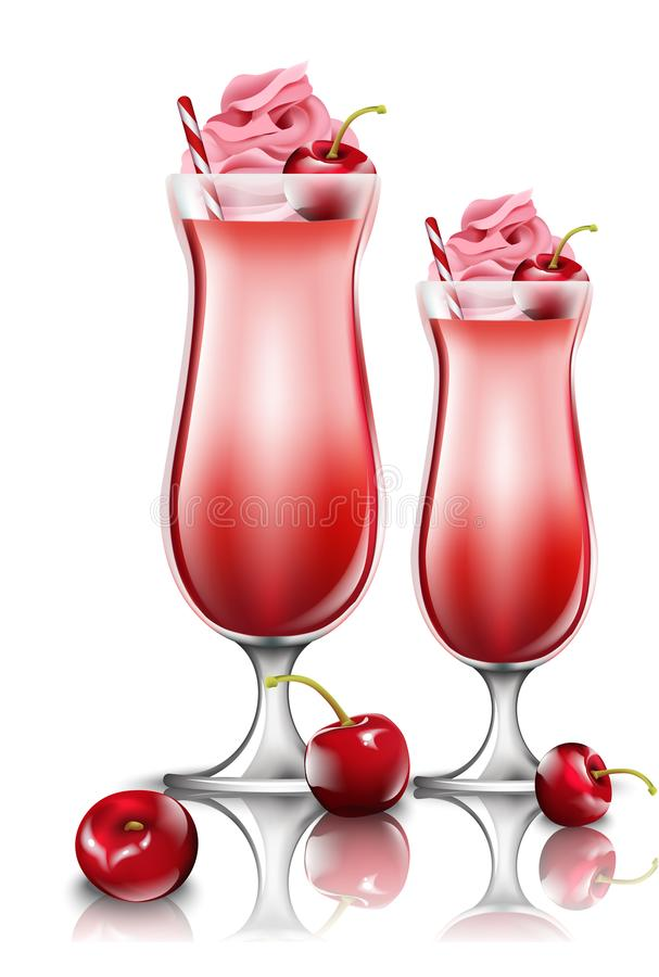 De drankenvector van de kersencocktail Verse smoothie in roze glazenillustraties vector illustratie