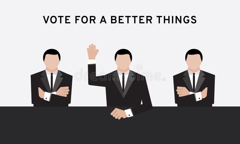 De drie bedrijfsmens in lucht en dwarswapen van de kostuumhand het omhoog voor verkiezing en de hand stemmen in conferentieruimte vector illustratie