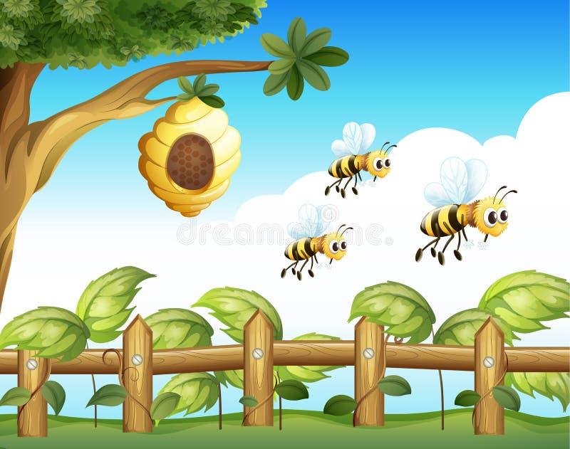 De drie bijen stock illustratie