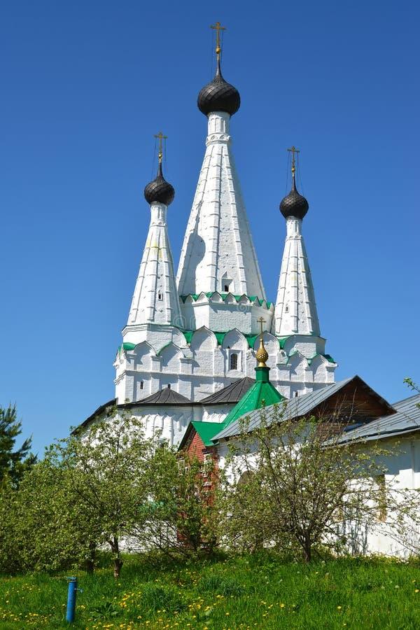 De drie-geleide Prachtige kerk van tentuspensky in Alekseevsky-klooster Uglich, Yaroslavl-gebied royalty-vrije stock foto